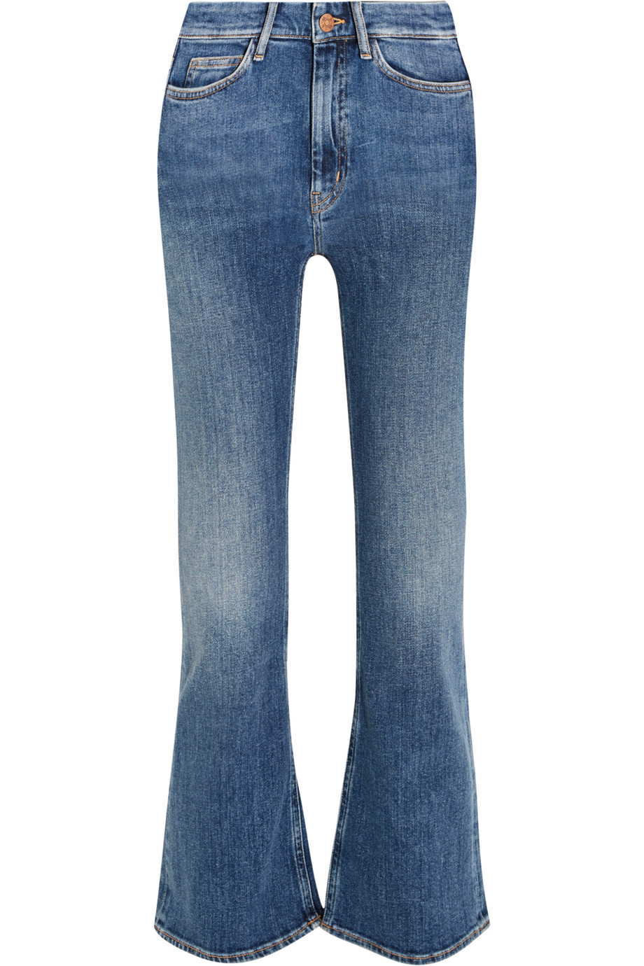 Mih Jeans Marty Cropped High-Rise Flared Jeans, Mid Denim, Women's, Size: 27