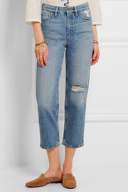MiH Jeans Jeanne cropped distressed straight-leg jeans