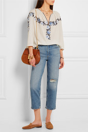 Jeanne cropped distressed straight-leg jeans