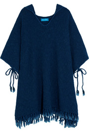 Malaquite cotton-blend hooded poncho