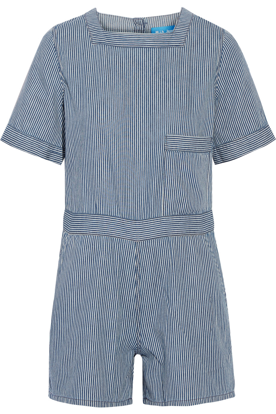 Biarritz Striped Cotton Playsuit, Blue, Women's, Size: XS