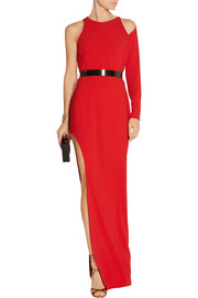 Halston Heritage Embellished one-shoulder stretch-crepe gown
