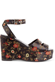 Maggie embroidered satin platform sandals