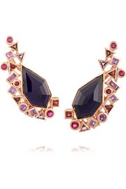 Gold Struck Crystal Haze 18-karat rose gold multi-stone earrings