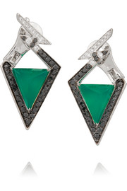 Lady Stardust Bolt 18-karat white gold, agate and diamond earrings