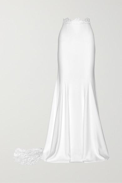 RIME ARODAKY Pennington Lace-Paneled Crepe Maxi Skirt in White