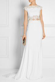 Pennington lace-paneled crepe maxi skirt