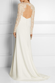 Olsen lace-paneled twill gown