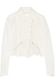 Drew cropped cotton-lace biker jacket