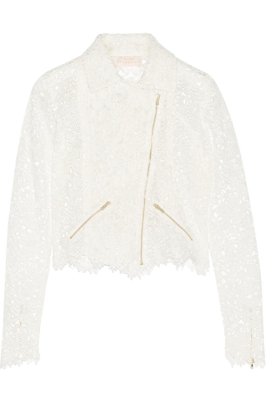 Rime Arodaky Drew Cropped Cotton-Lace Biker Jacket, White, Women's, Size: 38