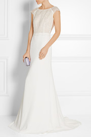 Zeppelin embroidered organza and crepe gown