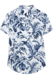 Keira printed washed-silk pajama shirt