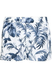 Landis printed washed-silk pajama shorts