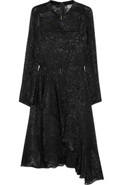 Amendine lace-trimmed devoré-chiffon dress