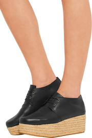 Robert Clergerie Patos textured-leather and raffia platform brogues