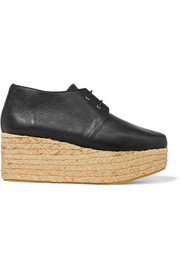 Patos textured-leather and raffia platform brogues