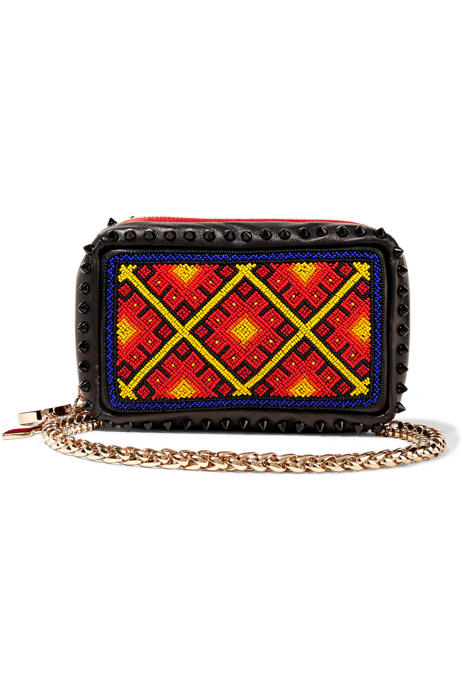 Christian Louboutin Piloutin Embellished Leather Clutch, Black/Red, Women's
