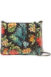 Christian Louboutin Triloubi large spiked printed textured-leather shoulder bag