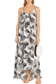Hamptons printed silk-crepe maxi dress