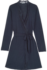 Penelope lace-trimmed stretch-jersey robe