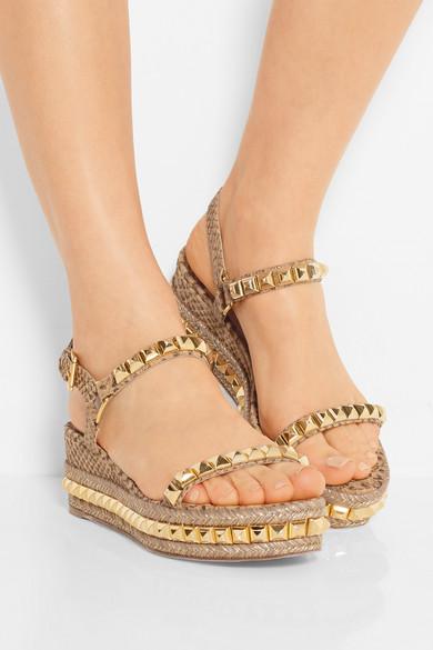236e4c0fe97 Christian Louboutin. Cataclou 60 studded snake-effect cork platform sandals