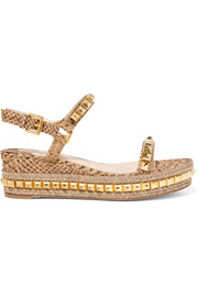 Christian Louboutin Cataclou 60 studded snake-effect cork platform sandals