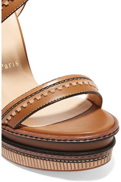 christian louboutin trepi 140 scalloped leather wedge sandals