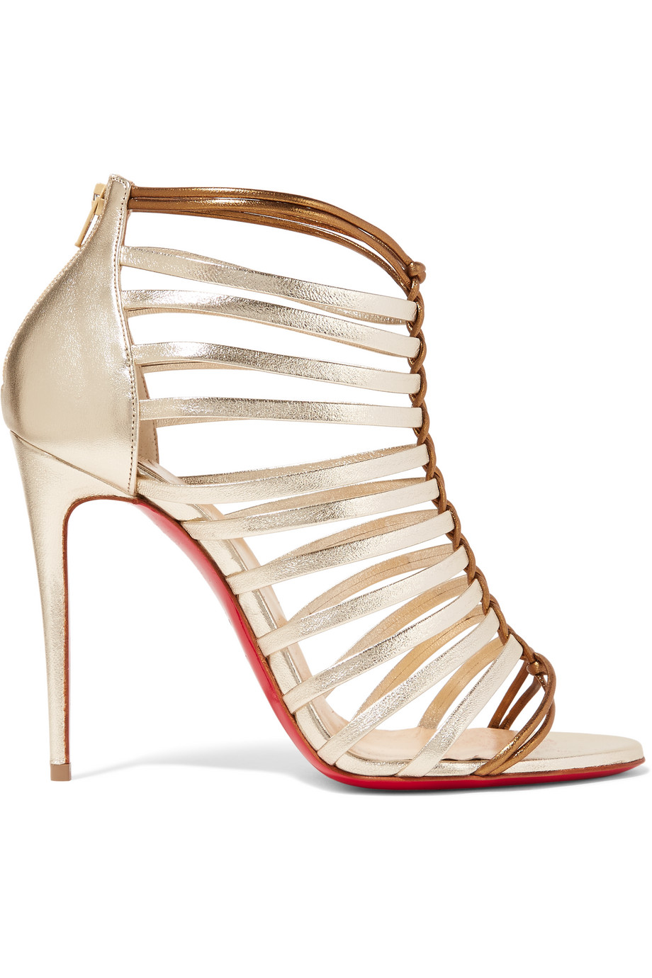 Christian Louboutin Milla 100 Metallic Leather Sandals, Gold, Women's US Size: 4.5, Size: 35