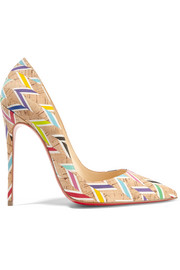 Christian Louboutin So Kate 120 printed cork pumps