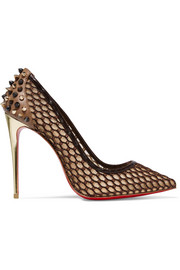 Guni 100 embellished leather-trimmed mesh pumps