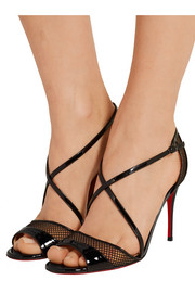 Christian Louboutin Silkova 85 mesh and patent-leather sandals