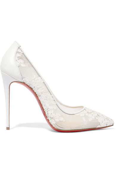 buy popular 8c7ca f137b Follies 100 leather-trimmed lace pumps