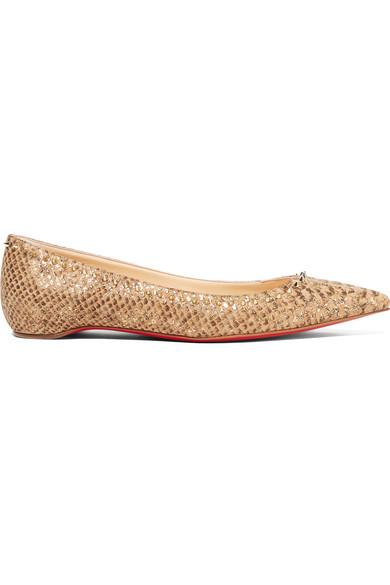 132103cea0f9 Christian Louboutin. Anjalina studded snake-effect cork point-toe flats