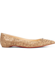 Christian Louboutin Anjalina studded snake-effect cork point-toe flats
