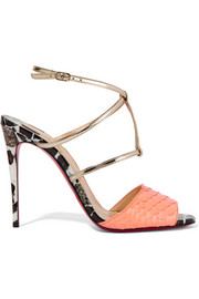 Lovabrida 100 metallic leather-trimmed python sandals