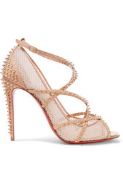 Christian Louboutin Alarc 100 spiked leather-trimmed fishnet pumps