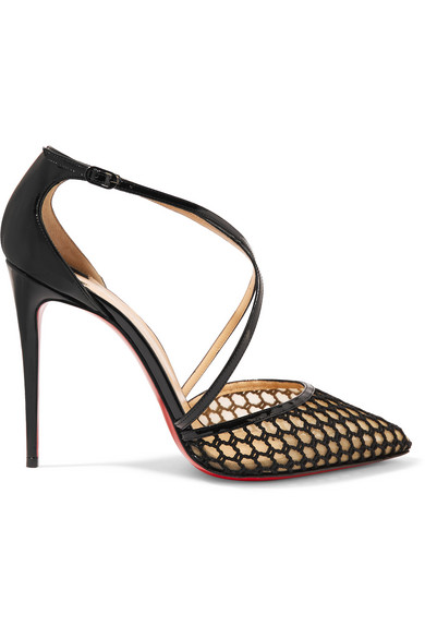 3ea799362688 Christian Louboutin. Cross Blake 100 patent-leather and embroidered mesh  pumps