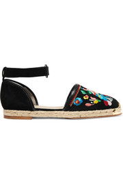 Embellished embroidered suede espadrilles