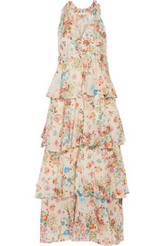 Melania tiered floral-print cotton-voile dress