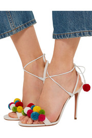 Aquazzura Pompom-embellished raffia sandals