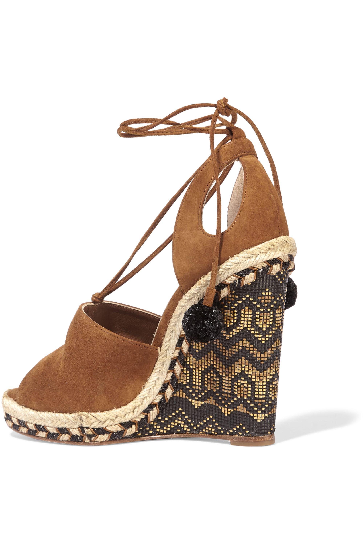 Aquazzura Palm Springs cutout suede espadrille wedge sandals