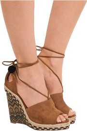 Palm Springs cutout suede espadrille wedge sandals