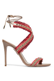 Latin Lover studded fringed suede and leather sandals