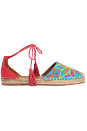 Palm Springs embroidered canvas and suede espadrilles