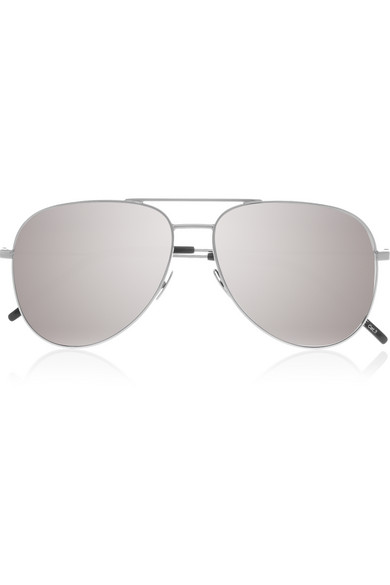 Aviator-style Silver-tone Mirrored Sunglasses - One size Saint Laurent AnQIU7qzF