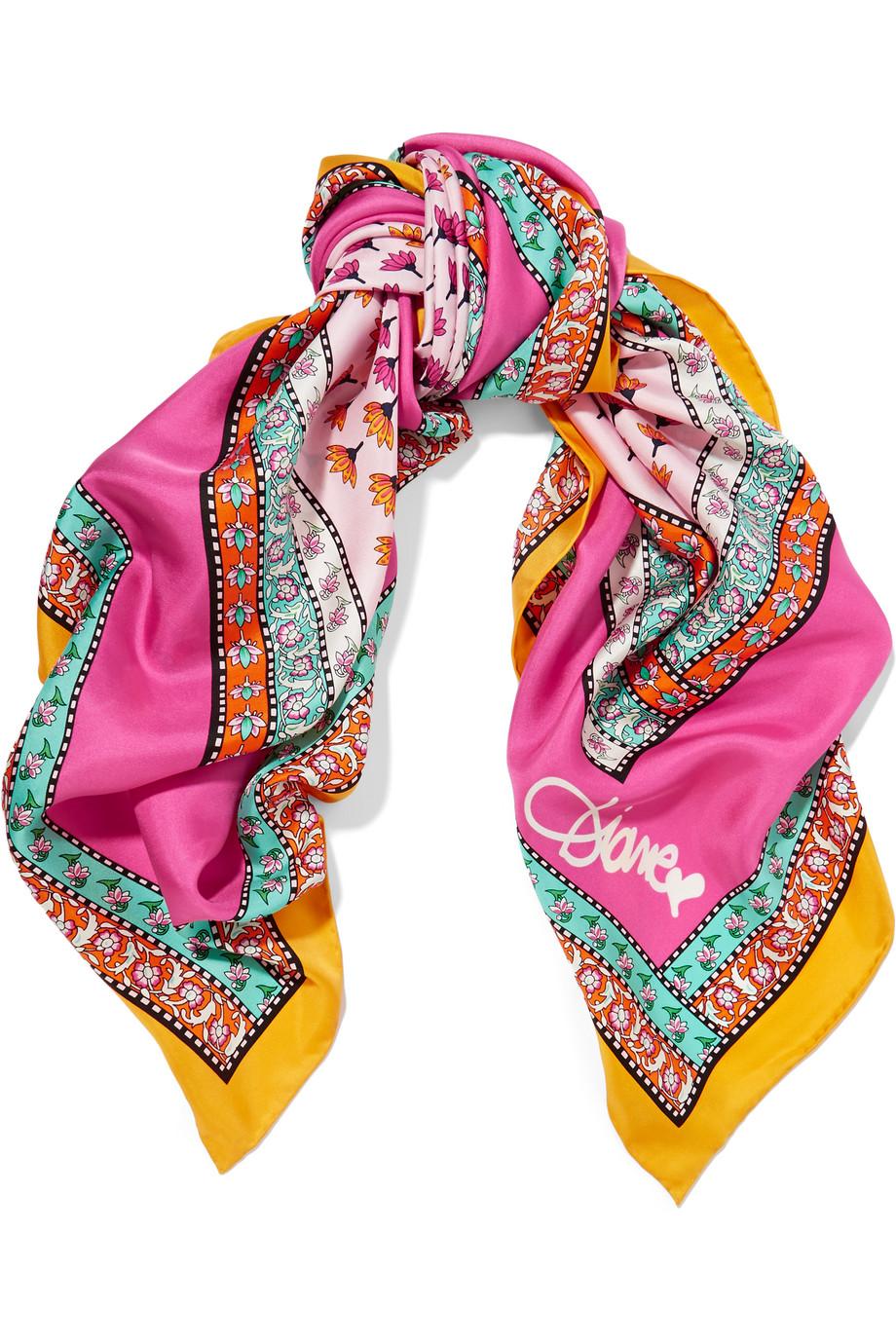 Diane Von Furstenberg Printed Silk-Twill Scarf, Pink, Women's