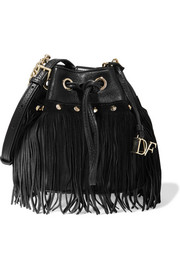 Vintage Boho Disco suede-fringed textured-leather bucket bag