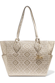 Voyage BFF metallic basketweave leather tote