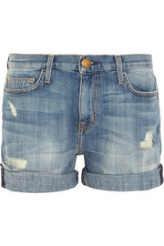 The Boyfriend distressed stretch-denim shorts