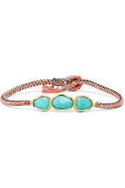 18-karat gold, sterling silver and turquoise bracelet